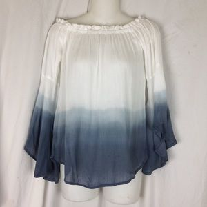 Love Notes Bell Sleeve Ombré Top Size M